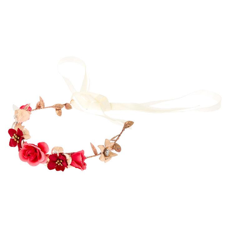 Rose Gold Flower Crown Tie Headwrap - Pink,