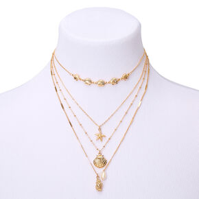 Gold Shell Multi Strand Choker Necklace,