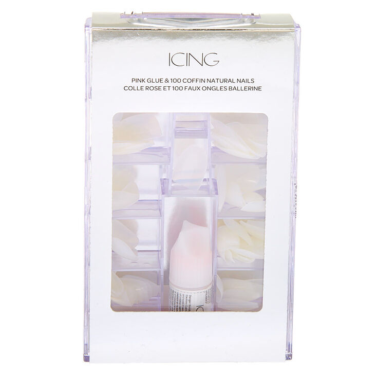 Natural Coffin Faux Nails - 100 Pack,