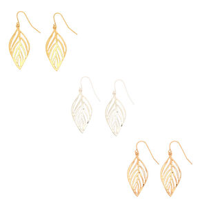 Mixed Metal Leaf Drop Earrings - 3 Pack,