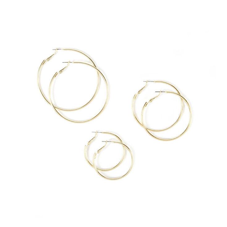 3 Pack Graduated Gold Hoop Earrings,