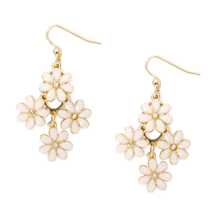 Small Cascading Ivory Glitter Stone Flowers Drop Earrings,
