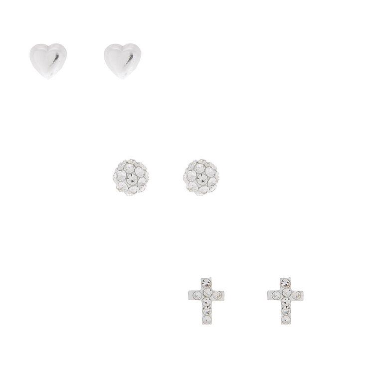 Sterling Silver Fireball Heart Stud Earrings - 3 Pack,
