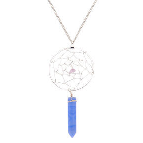 Silver Dreamcatcher Stone Long Pendant Necklace - Periwinkle,