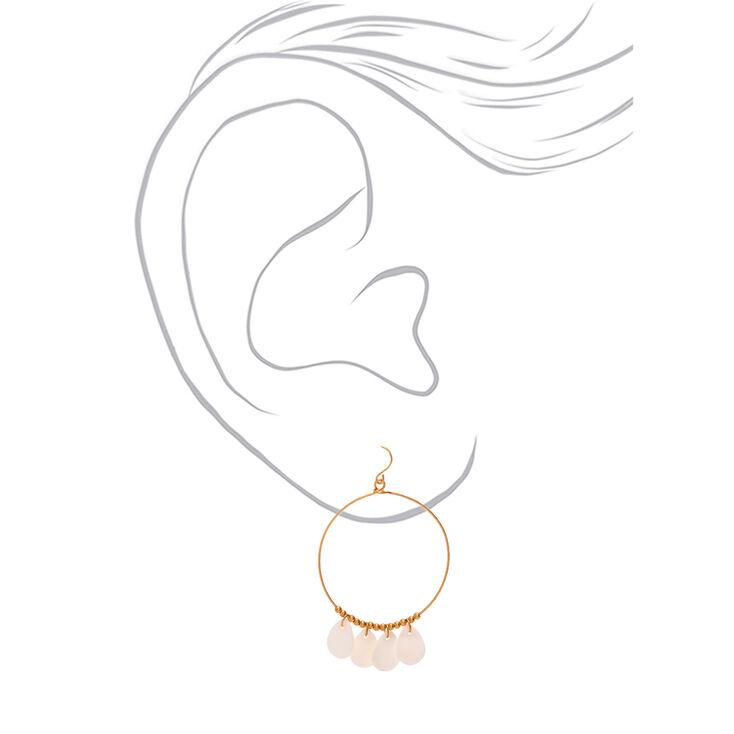 """Gold 2"""" Teardrop Hoop Drop Earrings - White,"""