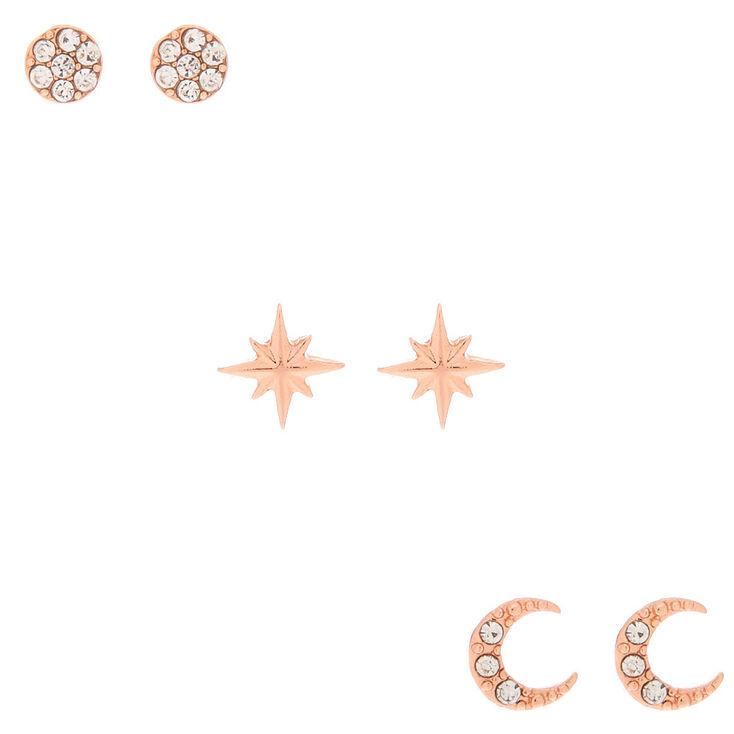 18kt Rose Gold Crystal Celestial Earrings - 3 Pack,