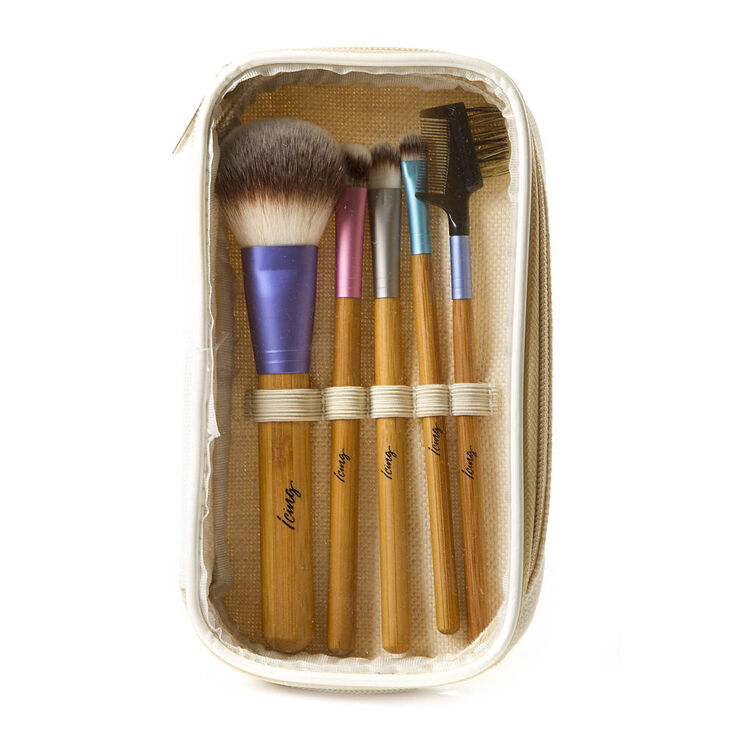 Pastel Metallic & Bamboo Makeup Brush Set of 5,