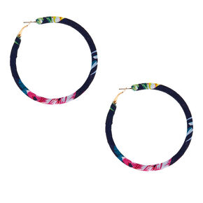 50MM Fabric Wrapped Floral Hoop Earrings - Navy,