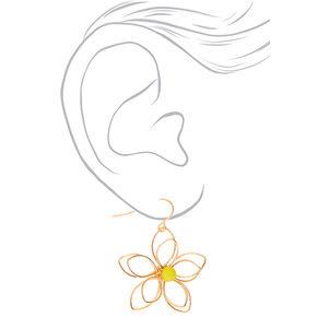"""Gold 1.5"""" Wire Flower Drop Earrings - Yellow,"""
