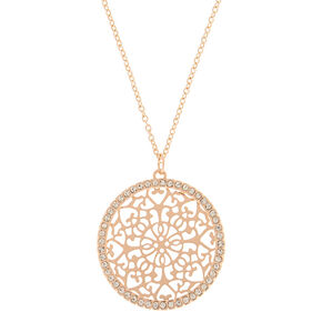 Gold Filigree Medallion Long Pendant Necklace,
