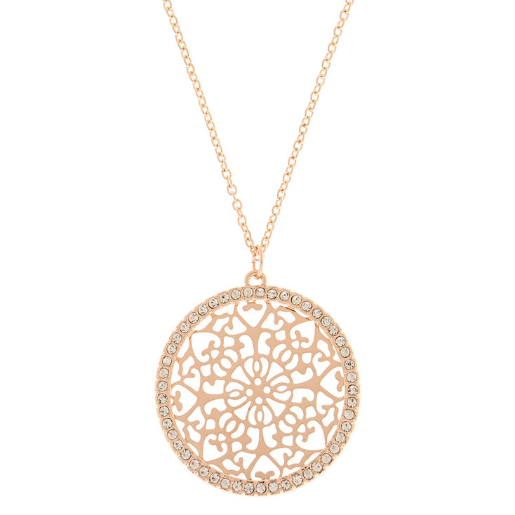 Gold Filigree Medallion Long Pendant Necklace,