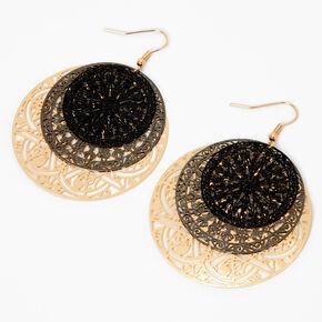 """Gold 2"""" Filigree Circle Drop Earrings,"""