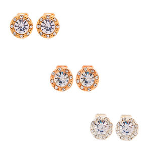 Mixed Metal Crystal Clip On Stud Earrings - 3 Pack,