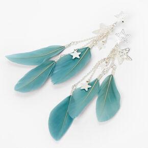 """Silver 4"""" Star Feather Drop Earrings - Blue,"""