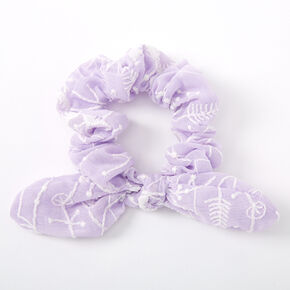 Small Crochet Knotted Bow Hair Scrunchie - Purple,
