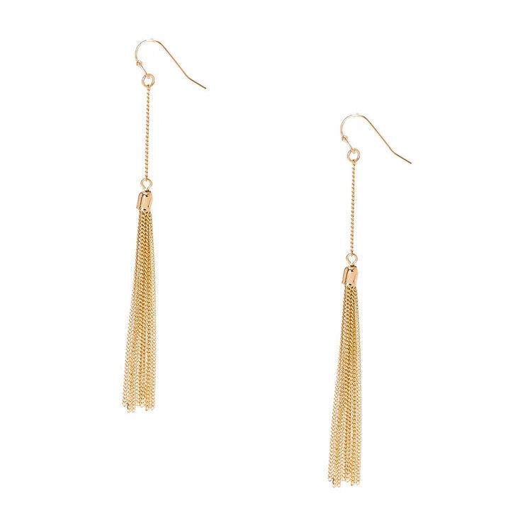 Gold Tone Chain Fringe Tassel Drop Earrings,