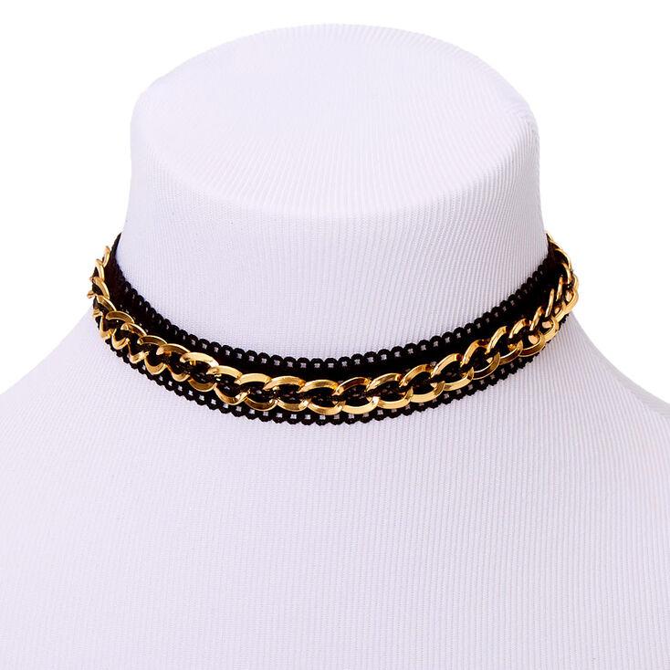 Gold Fishnet Chain Choker Necklace - Black,