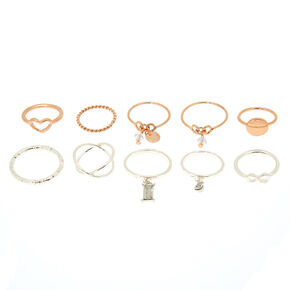 Mixed Metal Charm Multi-Size Rings - 10 Pack,