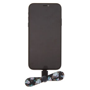 Floral Phone Fan - Black,