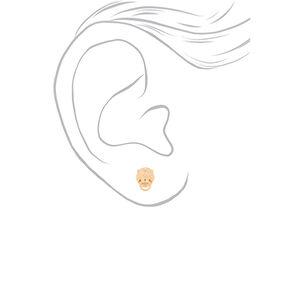 Gold Lion Door Knocker Stud Earrings,