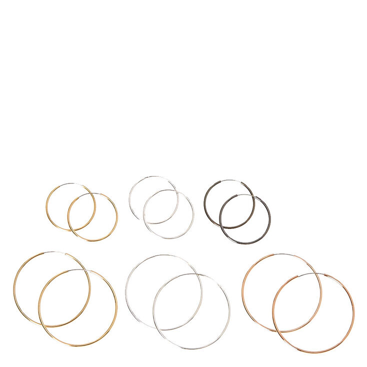 Mixed Metal Skinny Hoop Earrings,