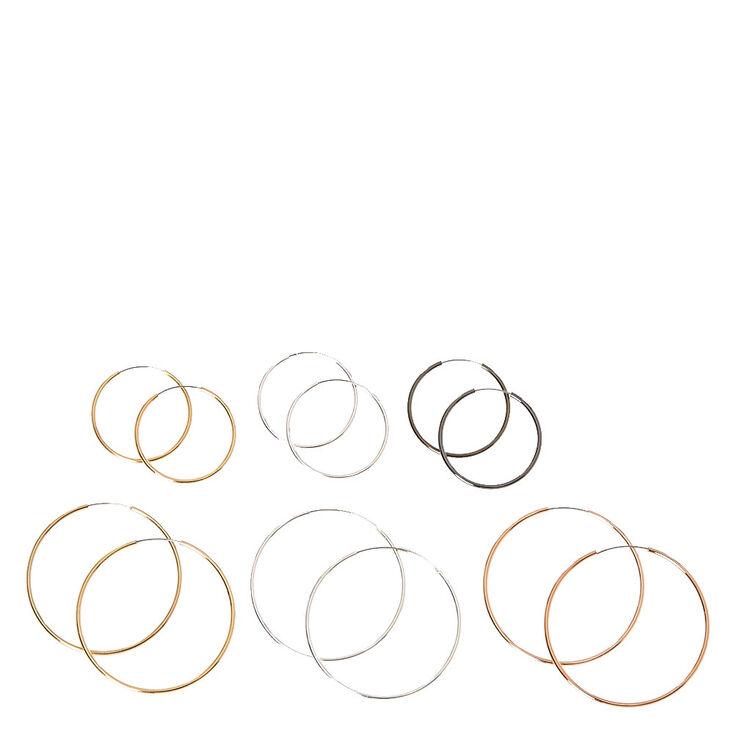 Mixed Metal Skinny Hoop Earrings,