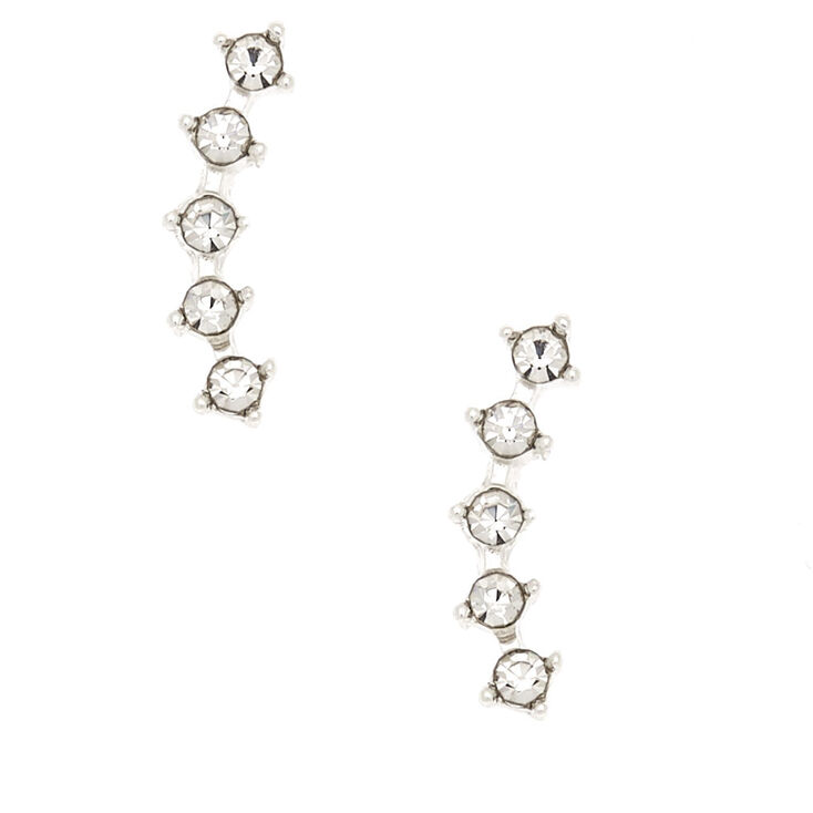 Silver Curved Crystal Magnetic Earrings,