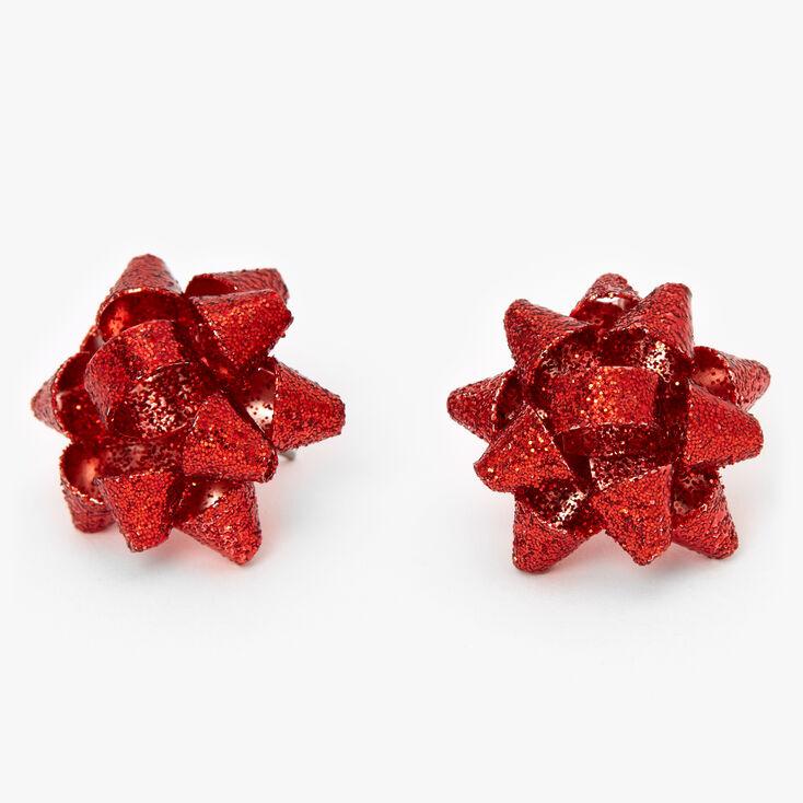 Glitter Bow Stud Earrings - Red,