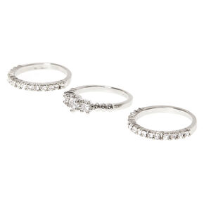 3 Pack Silver-Tone Faux Diamond Rings,
