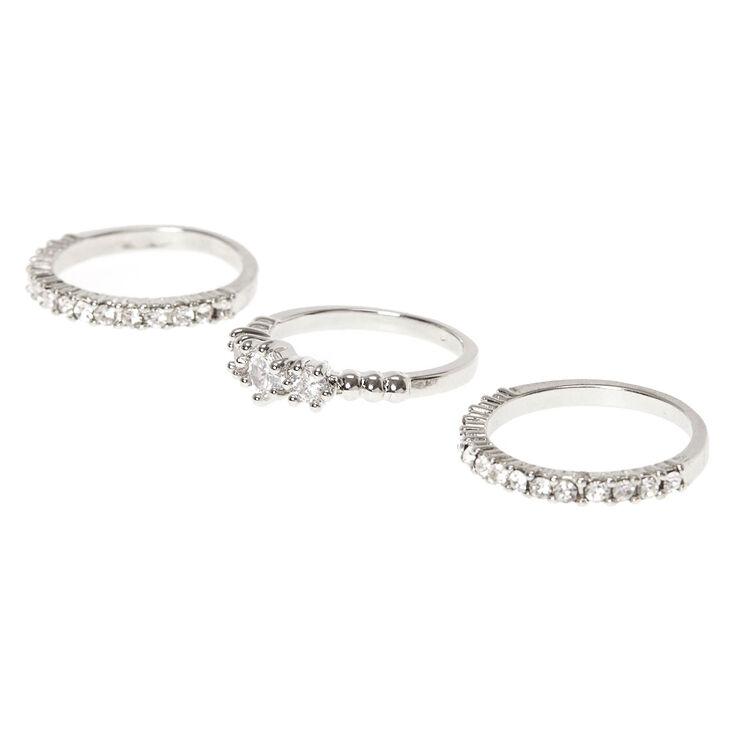 Diamond Rings - Silver, 3 Pack,