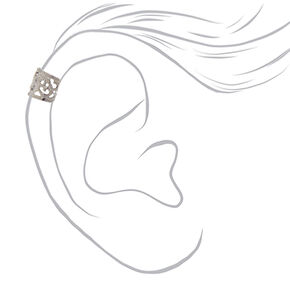 6 Pack Holographic Black and Silver-tone Filigree Ear Cuffs,