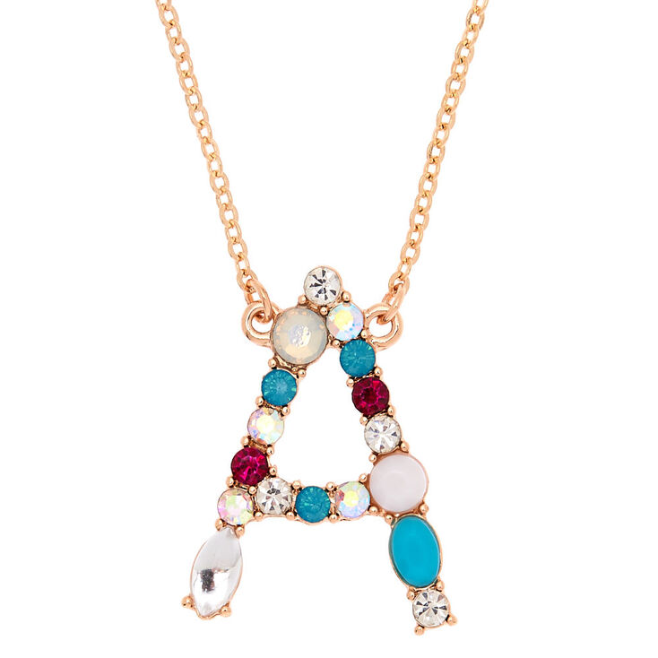 Embellished Long Initial Pendant Necklace - A,
