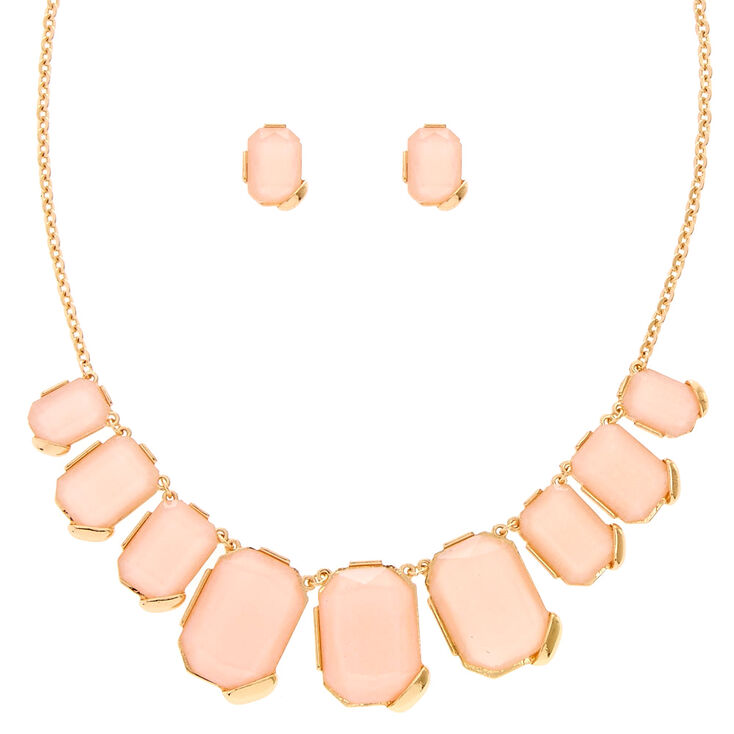 Blush & Gold-Tone Chunky Gem Statement Necklace,