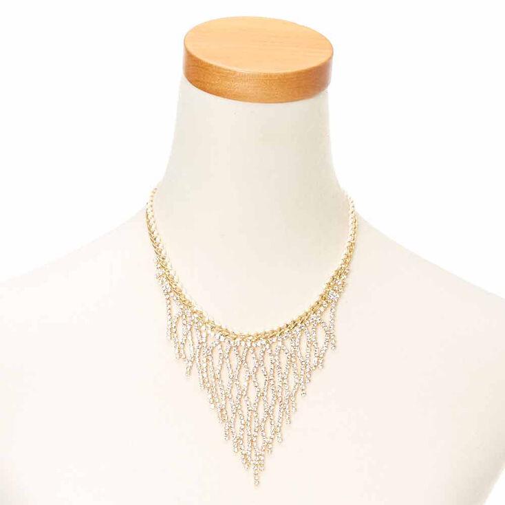 Gold Crystal Fringe Necklace,