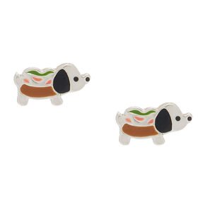 Sterling Silver Hot Dog Stud Earrings,