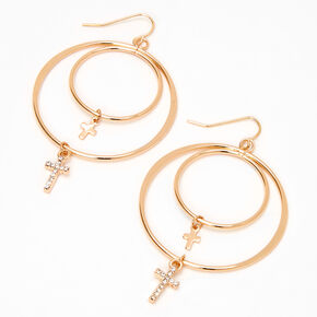 Gold Cross Double Hoop Earrings,