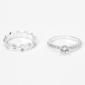 Silver Cubic Zirconia Classic Leaf Rings - 2 Pack,