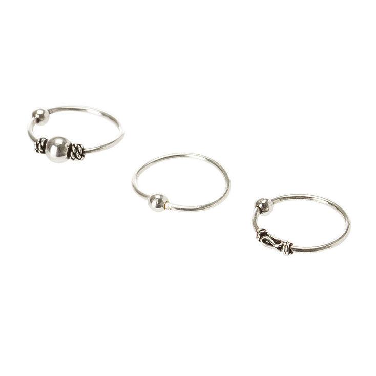 Sterling Silver Bead Cartilage Hoop Earring Set