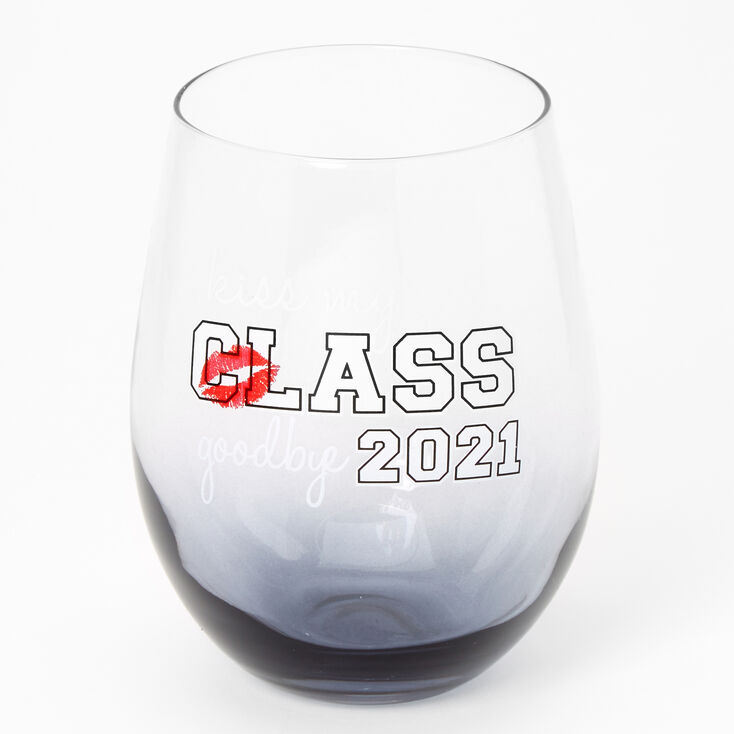 Class of 2021 Graduation Wine Glass - Grey,