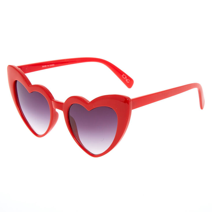 Heart-Shaped Sunglasses - Red,
