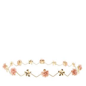 'Gold & Pink Flowers Zig Zag Flower Crown,