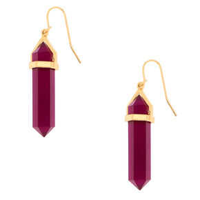"Crystal 1.5"" Drop Earrings - Purple,"