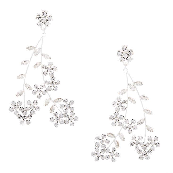 "Silver 3"" Floral Vine Drop Earrings,"