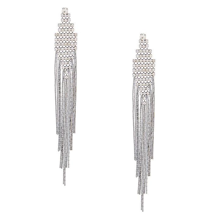 """Hematite 4"""" Fringe Drop Earrings,"""