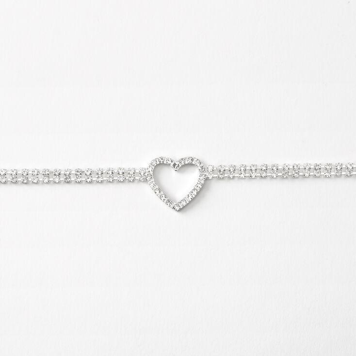 Silver Rhinestone Open Heart Choker Necklace,