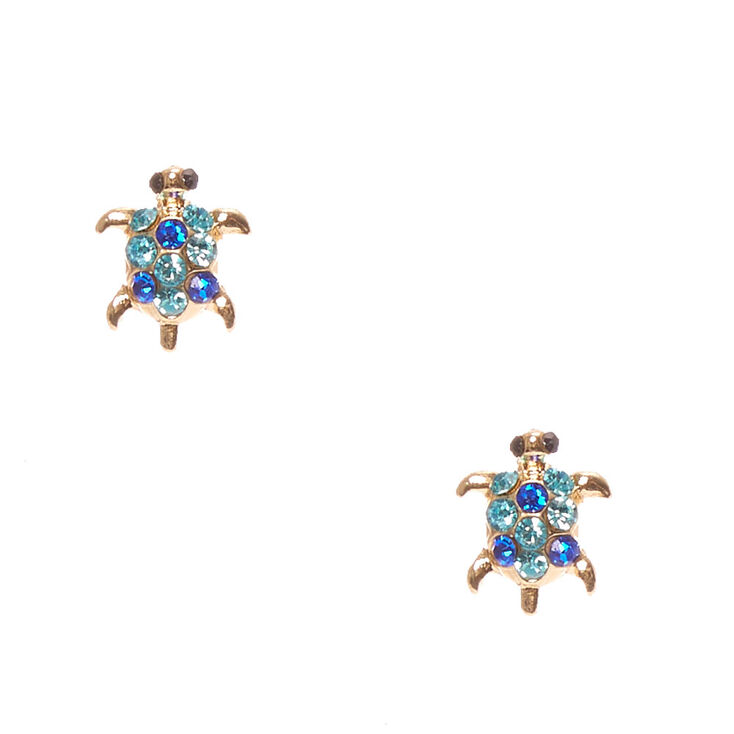 Gold-Toned Turtle Stud Earrings,