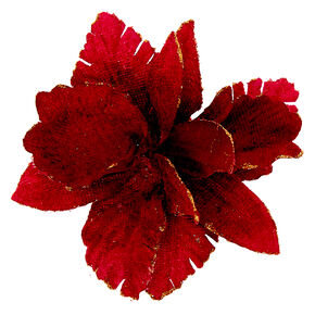 Velvet Glitter Flower Hair Clip - Burgundy,