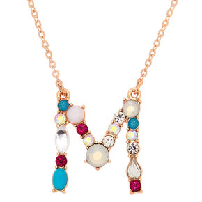 Embellished Long Initial Pendant Necklace - M,