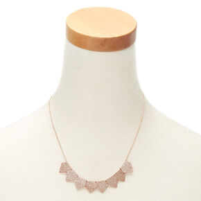 Rose Gold Glitter Statement Necklace - Rose Gold,