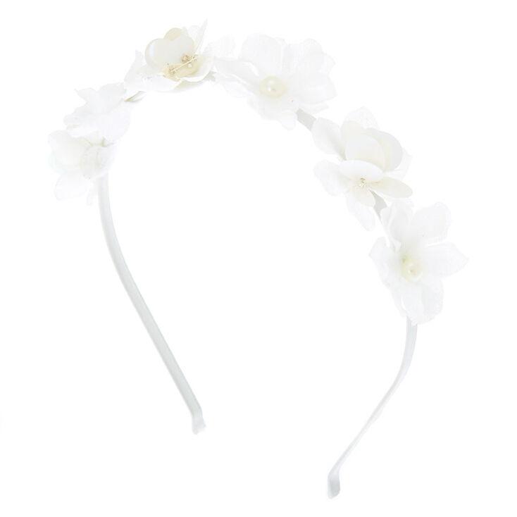 Sequin Flower Headband - White,